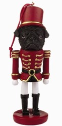 Pug Black Nutcracker Dog Christmas Ornament