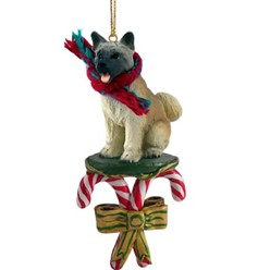 Candy Cane Akita Christmas Ornament