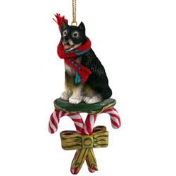 Candy Cane Alaskan Malamute Christmas Ornament