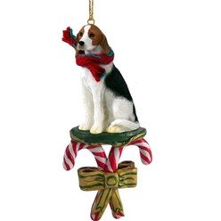 Candy Cane American Foxhound Christmas Ornament