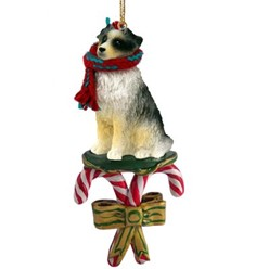 Candy Cane Australian Shepherd Christmas Ornament- click for more breed options