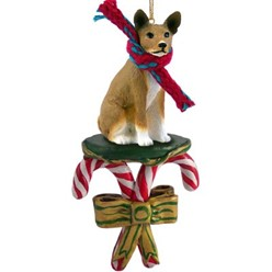 Candy Cane Basenji Christmas Ornament