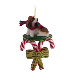 Candy Cane Basset Hound Christmas Ornament