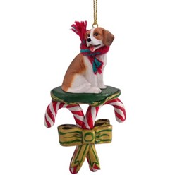 Candy Cane Beagle Christmas Ornament