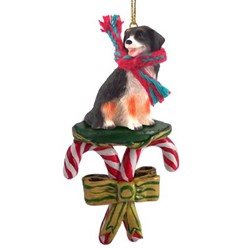 Candy Cane Bernese Mountain Dog Christmas Ornament