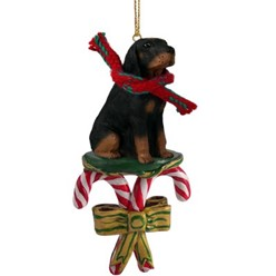 Candy Cane Black & Tan Coonhound Christmas Ornament