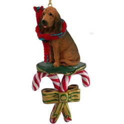 Candy Cane Bloodhound Christmas Ornament
