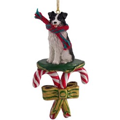 Candy Cane Border Collie Christmas Ornament