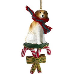 Candy Cane Borzoi Christmas Ornament
