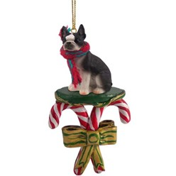 Candy Cane Boston Terrier Christmas Ornament