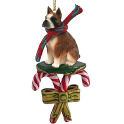 Candy Cane Boxer Christmas Ornament