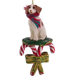Candy Cane Brittany Christmas Ornament