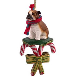 Candy Cane Bulldog Christmas Ornament- click for more breed colors