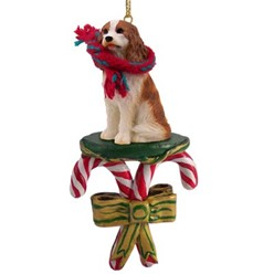 Candy Cane Cavalier King Charles Christmas Ornament- click for more breed colors
