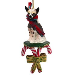 Candy Cane Chinese Crested Christmas Ornament
