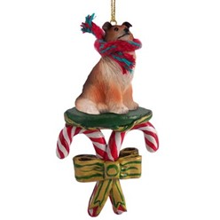 Candy Cane Collie Christmas Ornament- click for more breed colors