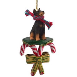 Candy Cane Doberman Christmas Ornament