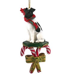 Candy Cane Smooth Fox Terrier Christmas Ornament