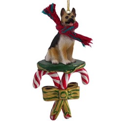 Candy Cane German Shepherd Christmas Ornament- click for more breed colors
