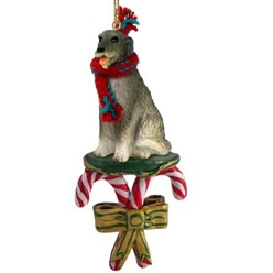 Candy Cane Irish Wolfhound Christmas Ornament