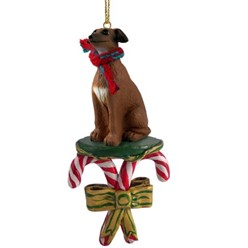 Candy Cane Italian Greyhound Christmas Ornament