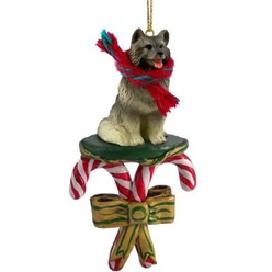 Candy Cane Keeshond Christmas Ornament