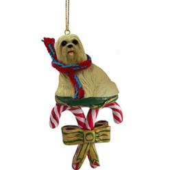 Candy Cane Lhasa Apso Christmas Ornament
