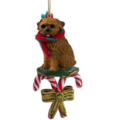 Candy Cane Norfolk Terrier Christmas Ornament