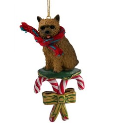Candy Cane Norwich Terrier Christmas Ornament