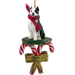Candy Cane Pit Bull Christmas Ornament- click for more breed colors