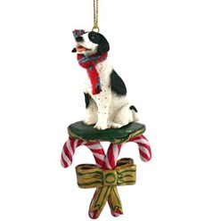 Candy Cane Pointer Christmas Ornament- click for more breed colors