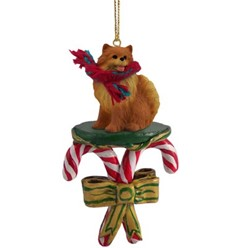Candy Cane Pomeranian Christmas Ornament- click for more breed colors