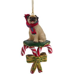 Candy Cane Pug Christmas Ornament- click for more breed colors