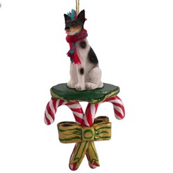 Candy Cane Rat Terrier Christmas Ornament