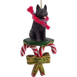 Candy Cane Schipperke Christmas Ornament