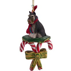 Candy Cane Schnauzer Christmas Ornament- click for more breed colors