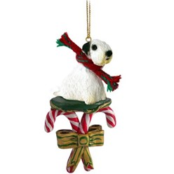 Candy Cane Sealyham Terrier Christmas Ornament
