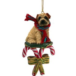 Candy Cane Shar Pei Christmas Ornament