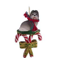 Candy Cane Shih Tzu Christmas Ornament- click for more breed options