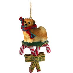 Candy Cane Tibetan Spaniel Christmas Ornament