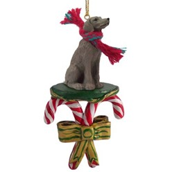 Candy Cane Weimaraner Christmas Ornament