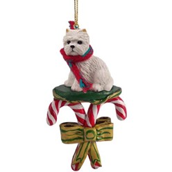 Candy Cane Westie Christmas Ornament