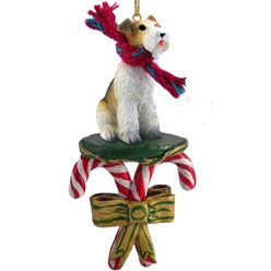 Candy Cane Wire Fox Terrier Christmas Ornament