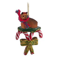 Candy Cane Yorkshire Terrier Christmas Ornament
