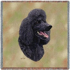 Poodle Black Throw
