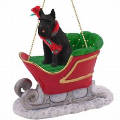 Giant Schnauzer Sleigh Christmas Ornament- click for more breed colors