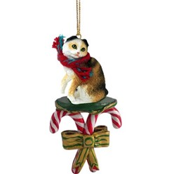 Candy Cane Scottish Fold Christmas Ornament-click for more breed colors