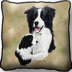 Border Collie and Pup Pillow, Made in the USA