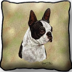 Boston Terrier Black Pillow, Made in the USA