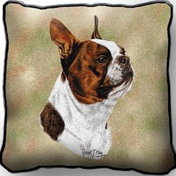 Boston Terrier Brown Pillow, Made in the USA